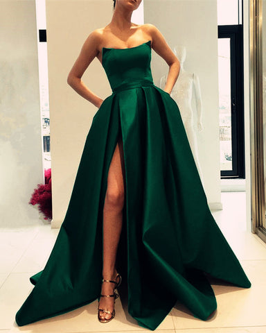 Image of Emerald-Green-Evening-Gowns-Long-Strapless-Prom-Dress