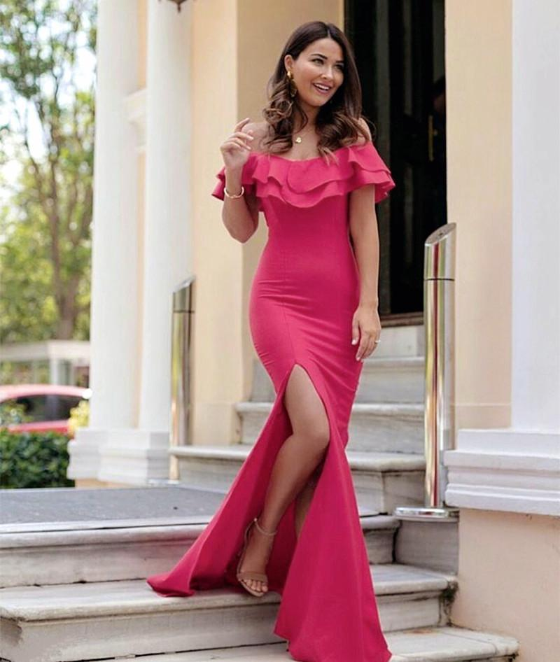 Long Jersey Ruffle Sleeves Prom Dresses 2018 Mermaid Evening Gowns Leg Split