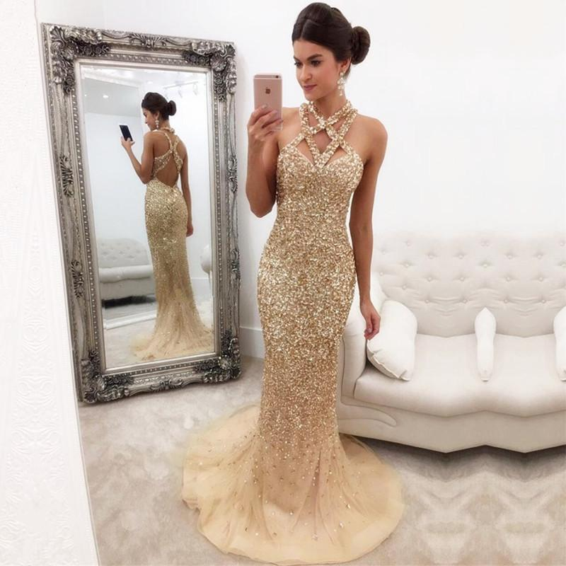 Fully Crystal Beaded Halter Long Champagne Mermaid Evening Gowns 2017