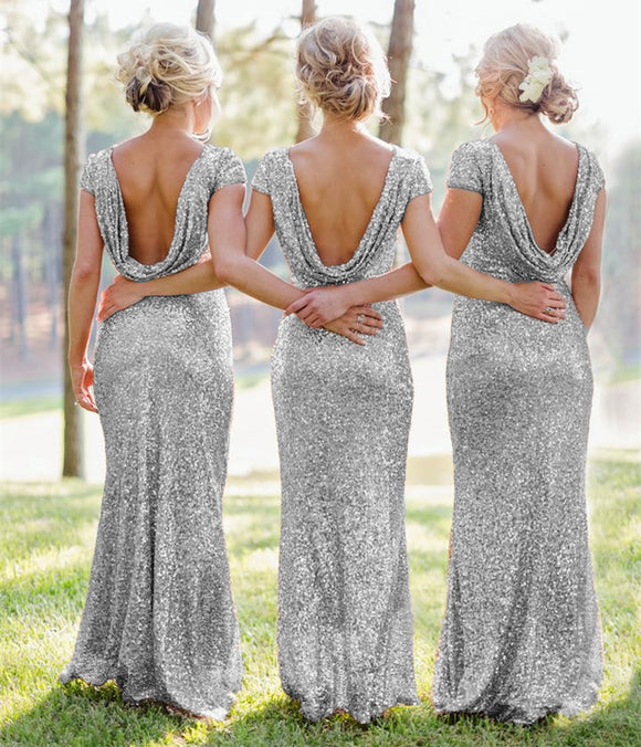 Mermaid Ruffles Back Cap Sleeves Sequin Bridesmaid Dresses