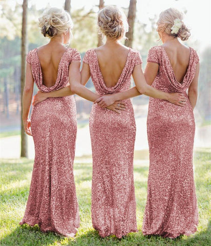 Image of Modern Style Glitter Sequins Bridesmaid Dresses Mermaid Formal Gowns