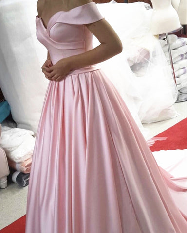 Off Shoulder Long Satin Prom Evening Dresses