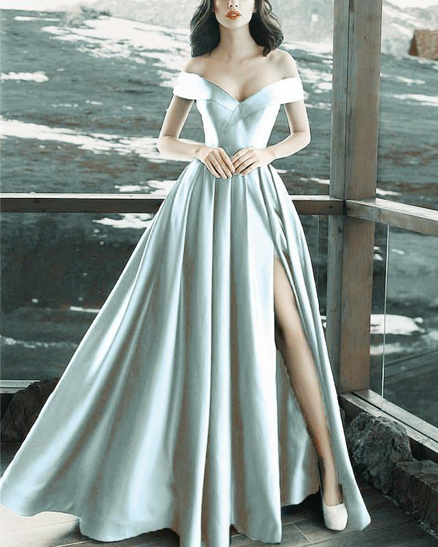 Long-Silver-Evening-Dresses-V-neck-Prom-Formal-Gowns