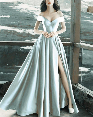 Image of Long-Silver-Evening-Dresses-V-neck-Prom-Formal-Gowns