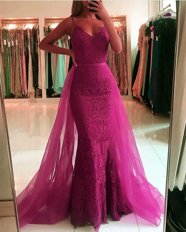 Spaghetti Straps V-neck Lace Mermaid Prom Dresses 2019 Removable Skirt