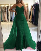 Load image into Gallery viewer, Elegant V-neck Mermaid Lace Prom Dresses Detachable Skirt