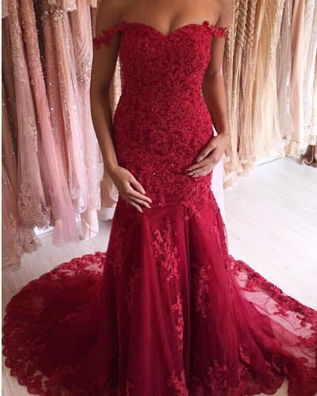 9a4228a7bb5 Charming Lace Off Shoulder Mermaid Evening Dresses 2019 Prom Gowns. Double  tap to zoom