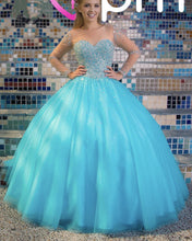 Afbeelding in Gallery-weergave laden, Sheer Long Sleeves Crystal Beaded Bodice Tulle Ball Gowns Quinceanera Dresses