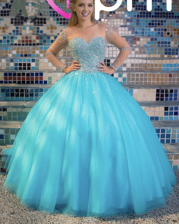 Sheer Long Sleeves Crystal Beaded Bodice Tulle Ball Gowns Quinceanera Dresses