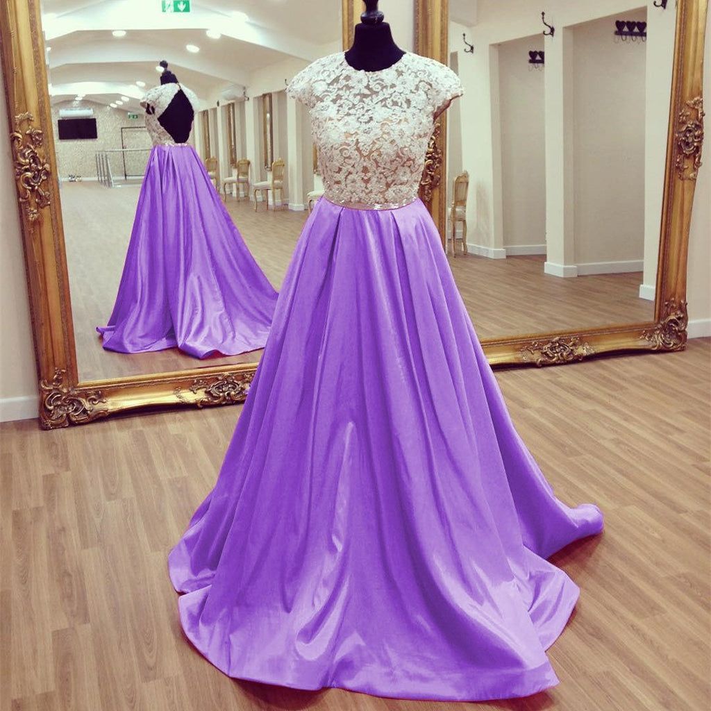 Modest Lace Cap Sleeves Open Back Satin Prom Dresses 2017 Long