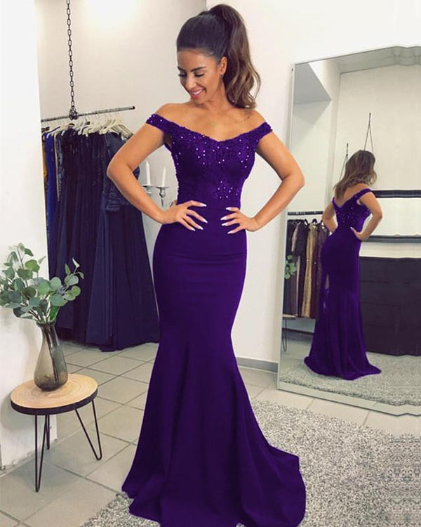 Elegant Lace Train V-neck Off Shoulder Prom Dresses Mermaid