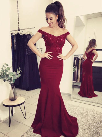 Image of Elegant Lace Train V-neck Off Shoulder Prom Dresses Mermaid