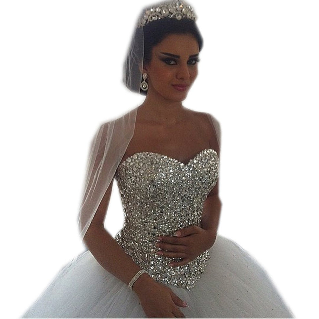 crystal beading sweetheart bodice corset princess wedding dresses