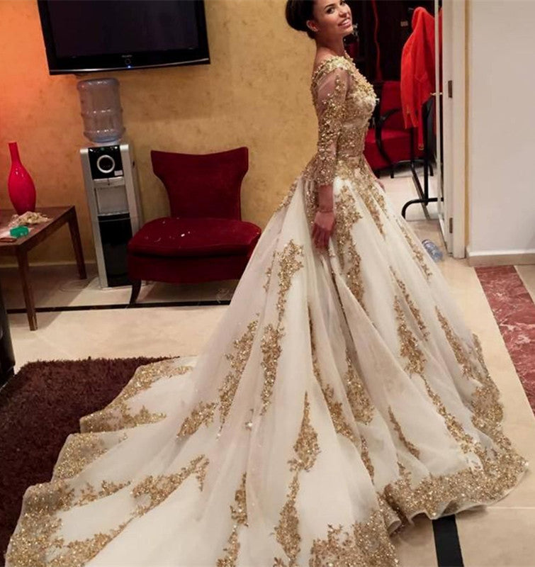 White Organza Ball Gowns Long Sleeves Wedding Dresses Gold
