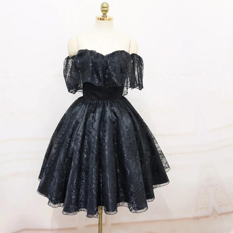 A-Line Off The Shoulder Short Black Lace Homecoming Dress