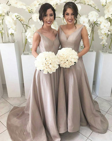 Image of Long-Gray-Bridesmaid-Dresses