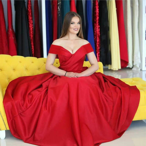 Image of Red Satin Long V Neck Prom Dresses Ball Gowns 2018