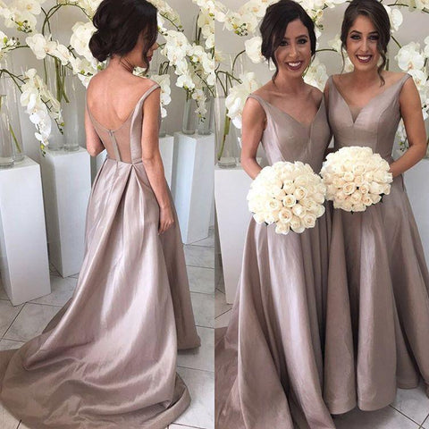 Image of Deep V-neck Long Satin See Through Back Bridesmaid Dresses