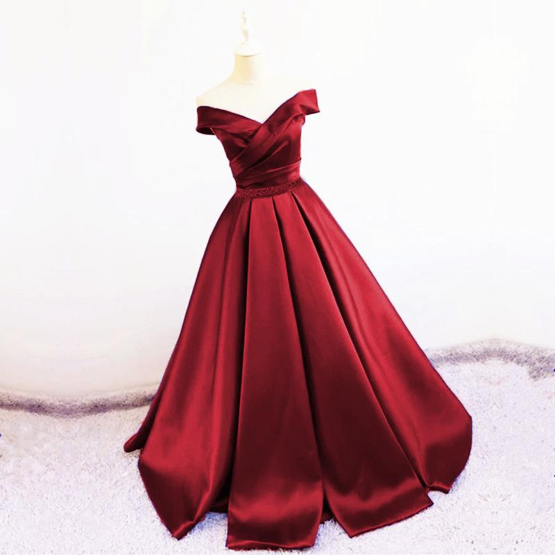 Sexy V Neck Off The Shoulder Satin Ball Gown Prom Dress Beaded Sashes