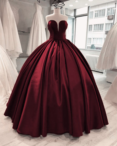 Image of Burgundy-Quinceanera-Dresses
