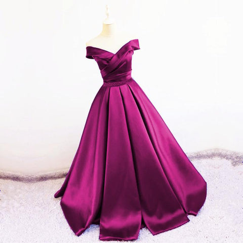 Image of Sexy V Neck Off The Shoulder Satin Ball Gown Prom Dress Beaded Sashes