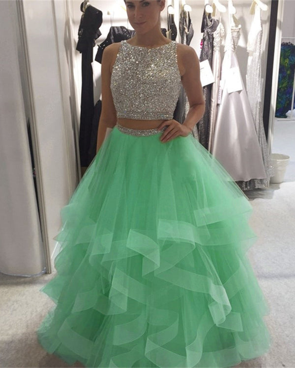 Exquisite Sequin Beaded Organza Ruffles Prom Dresses Two Piece