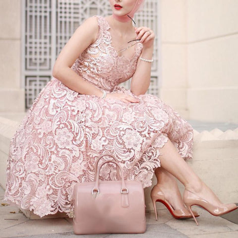 Image of Vintage V Neck Tea Length Lace Wedding Guest Dresses