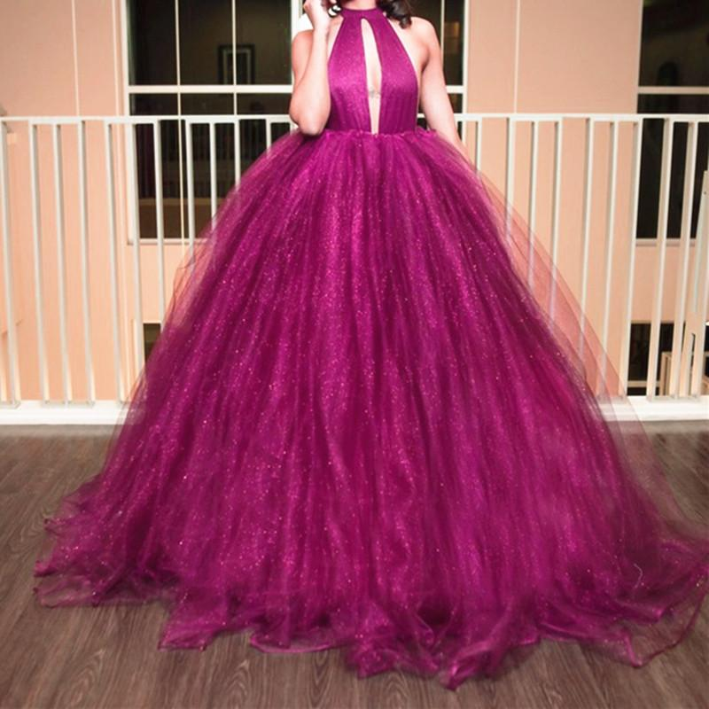 Unique Halter Top Organza Ball Gowns Prom Dresses 2017