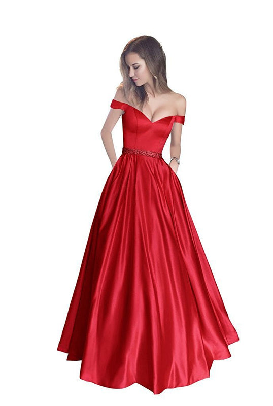 Sexy V Neck Long Prom Dresses Ball Gowns Off The Shoulder