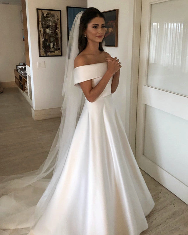 Jieruize White Simple Backless Wedding Dresses 2019 Ball: A-line Off The Shoulder Satin Wedding Gowns 2019