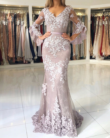 Image of Lilac-Lace-Prom-Dresses-Mermaid-V-neck-Evening-Gowns