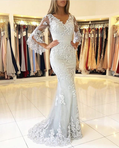 Image of Elegant Puffy Sleeves Lace V-neck Mermaid Prom Evening Dresses