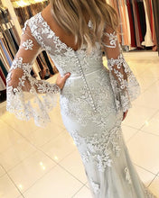 Afbeelding in Gallery-weergave laden, Elegant Puffy Sleeves Lace V-neck Mermaid Prom Evening Dresses