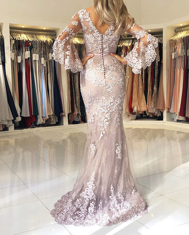 Elegant V-neck Lace Mermaid Prom Dresses Puffy Sleeves