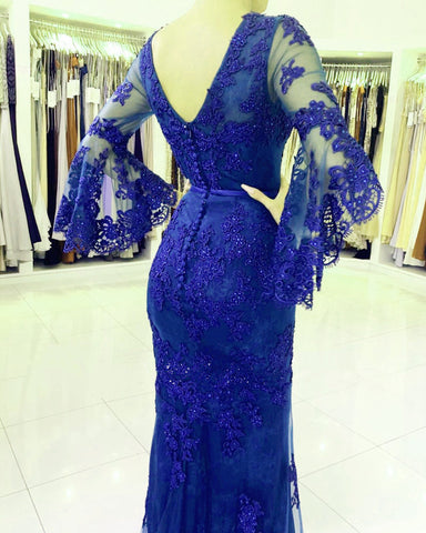 Image of Elegant V-neck Lace Mermaid Prom Dresses Puffy Sleeves