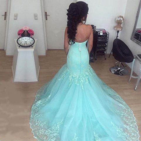 Image of Elegant Lace Appliques Sweetheart Tulle Mermaid Evening Dresses