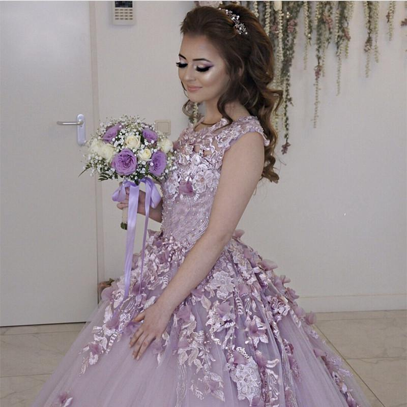Lilac Tulle Cap Sleeves Wedding Dresses With Floral Flowers