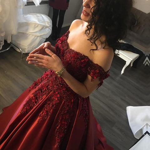 Image of Maroon Satin Wedding Dresses Ball Gowns Lace Off Shoulder