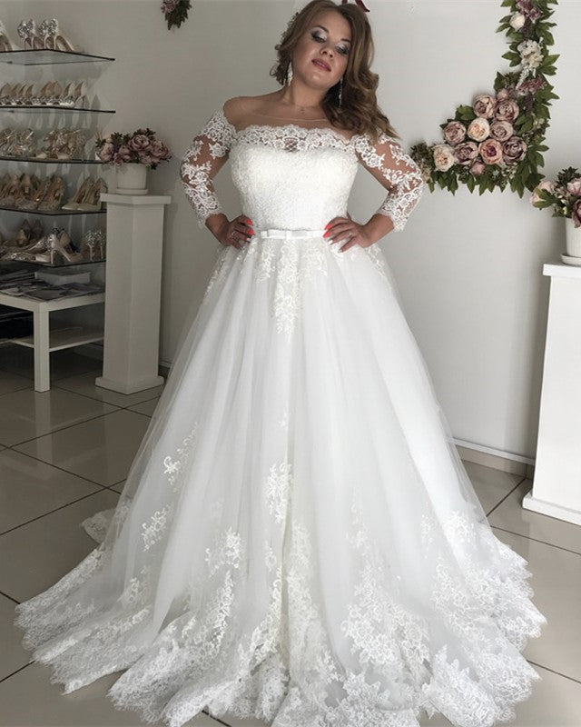 Plus Size Wedding Dresses 2019: 2019 Wedding Gowns Plus Size Bridal Dress With 3/4 Sleeves
