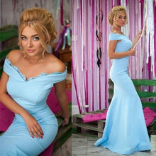 Load image into Gallery viewer, Light Blue Jersey Mermaid Prom Dresses V-neck Off Shoulder Evening Gowns