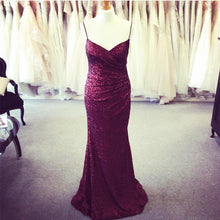 Load image into Gallery viewer, Long Burgundy Sequins V Neck Mermaid Bridesmaid Dresses