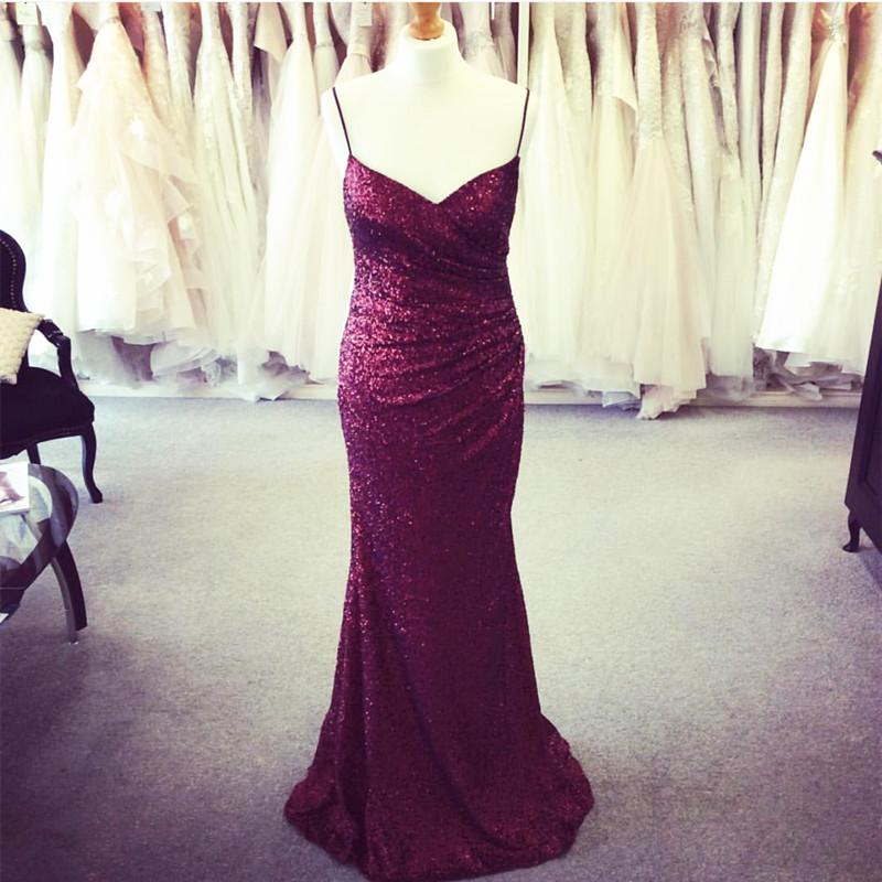 Long Burgundy Sequins V Neck Mermaid Bridesmaid Dresses