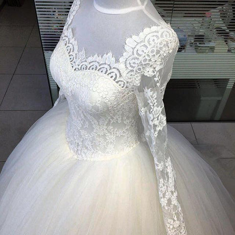 Image of Lace Long Sleeves Wedding Dresses Ball Gowns