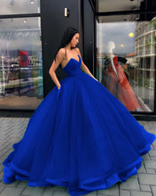 Load image into Gallery viewer, V-neck-Corset-Organza-Quinceanera-Dresses-Ball-Gown-Prom-Dress-2019