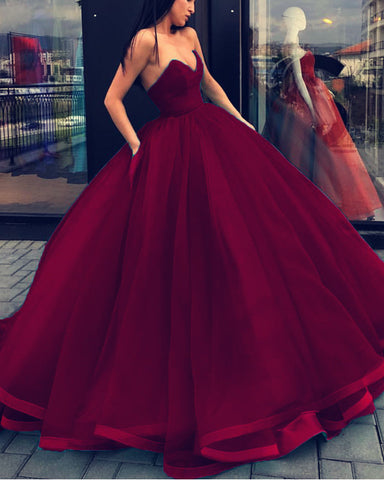 Image of Burgundy-Quinceanera-Dresses-Ball-Gowns-Formal-Wedding-Dresses-For Photography