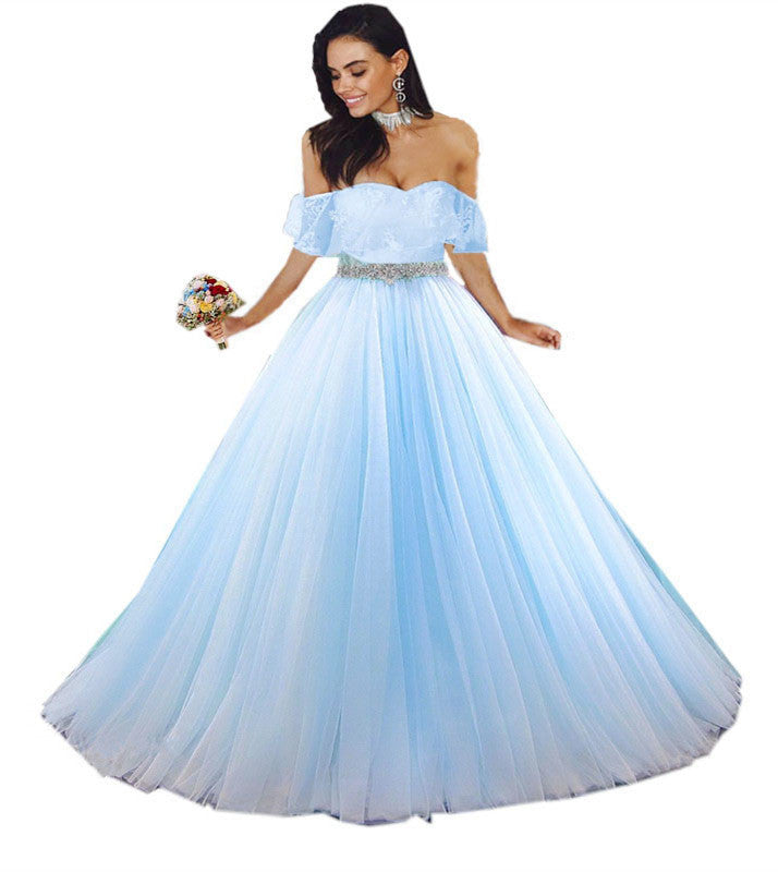 c317be3e369 Baby Blue Tulle Quinceanera Dress Ball Gowns Lace Off Shoulder. Double tap  to zoom