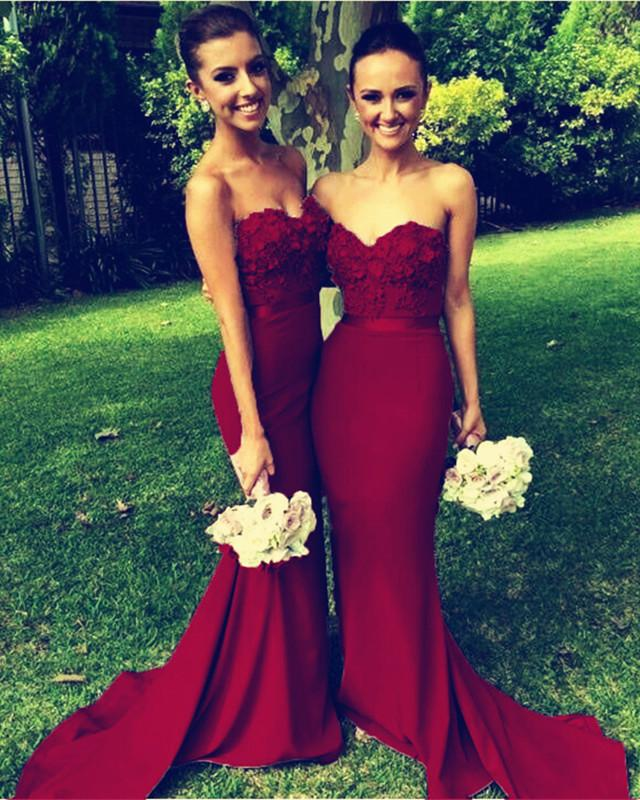 Gorgeous Flowers Beaded Sweetheart Long Mermaid Bridesmaid Dresses
