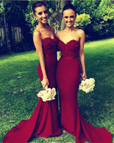 Image of Gorgeous Flowers Beaded Sweetheart Long Mermaid Bridesmaid Dresses