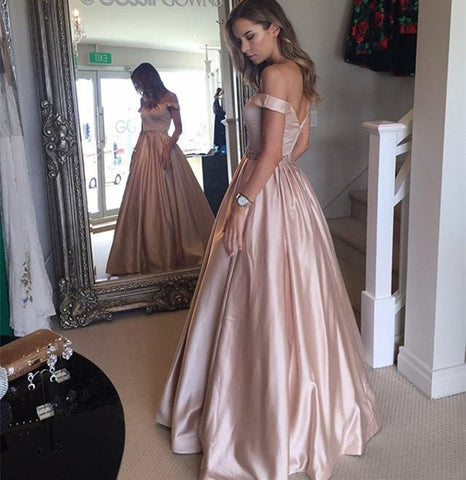 Image of Nude-Pink-Satin-Prom-Gowns-2019-Spring-Fashion-Beaded-Evening-Dresses