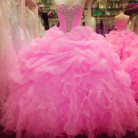 Image of Crystal Beaded Sweetheart Organza Layered Ball Gowns Quinceanera Dresses